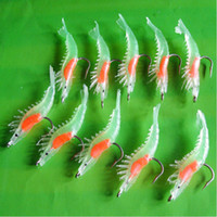 Wholesale mm g Noctilucent Soft Silicone Prawn Shrimp Fishing Lure Hook Bait