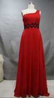 Actual Images Sash  A-line Red One-shoulder Ruched Bodice Floral Beading Waistline Sweep Train Chiffon Bridesmaid Dress
