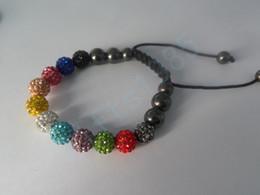 Bracelets Bling Stone Pave Clay Ball Shambala Bracelets With Hematite Beads Stretch Bracelets