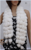 Wholesale 2013 Rabbit Fur scarfs ball rabbit ful Soft hair Long style Gorgeous Scarves Winter Woman