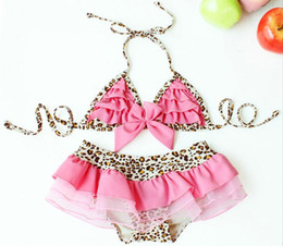 Wholesale Newest Girl Swimsuits Newest Princess Leopard Bikini Swimsuit Girl Bikini Swim Skirts Hat Hot sell