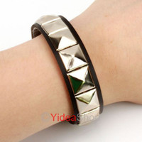 Wholesale 6pcs Black Gothic Rock Punk Pyramid Stud Rivet Spike Cuff Bangle Leather Bracelet Wristband