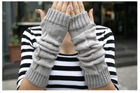 Wholesale Fashion knitting wool gloves half finger gloves color coffee black gray
