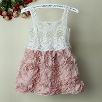 3-7y Summer Sleeveless 2012 Fashion Baby Girl Dresses Rose Children Pink Lace Flower Dress Princess Kids Desses 10 Pcs Lot
