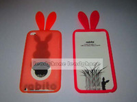 Wholesale Rabbit Silicone rabito soft case back skin Cover for ipod touch itouch G