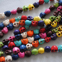 Wholesale top quality acryl skull beads multi colour mixed fit bracelet necklace