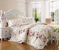 Wholesale King Size Cotton Printed Lace Work Fitted Sheet Bedding Set