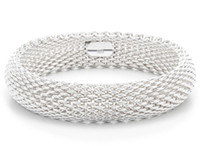 Wholesale Promation price sterling silver mesh bangles and bracelets fashion bangles silver jewelry free