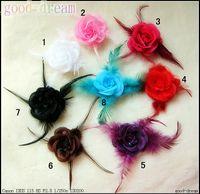 Hair Bows Chemical Fiber Solid Baby Feather rose headdress flower Children's Hair Bows Hair Clips Girls head flower Corsage 50pcs