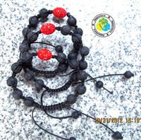 Wholesale Round Black Lava Rock Gemstone Beads and ellipse discoball beads handmade weave bracelet