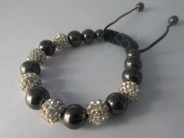 Black and white, high-grade clay the mosaic crystal Shambhala with magnet bracelet