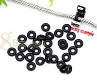 Wholesale DIY New Fashion Black Rubber Stopper Rings Spacer Bead Charm Fit European Bracelet