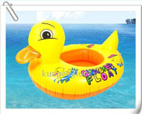 Wholesale Hot Baby Swim Ring Yellow Duck Water Fun Floater Quacker Swimming Boat Inflatable Swimming Ring