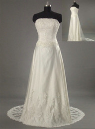 Wholesale Actual images ivory strapless sheath wedding dresses gown with lace appliques and bedings chapel