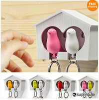 Wholesale DUO Sparrow Key Ring with Birdhouse Keychain Gadget for Home Decoration