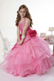 Wholesale Pink fashional high quality Flouncing many layers flower girl dresses FG16