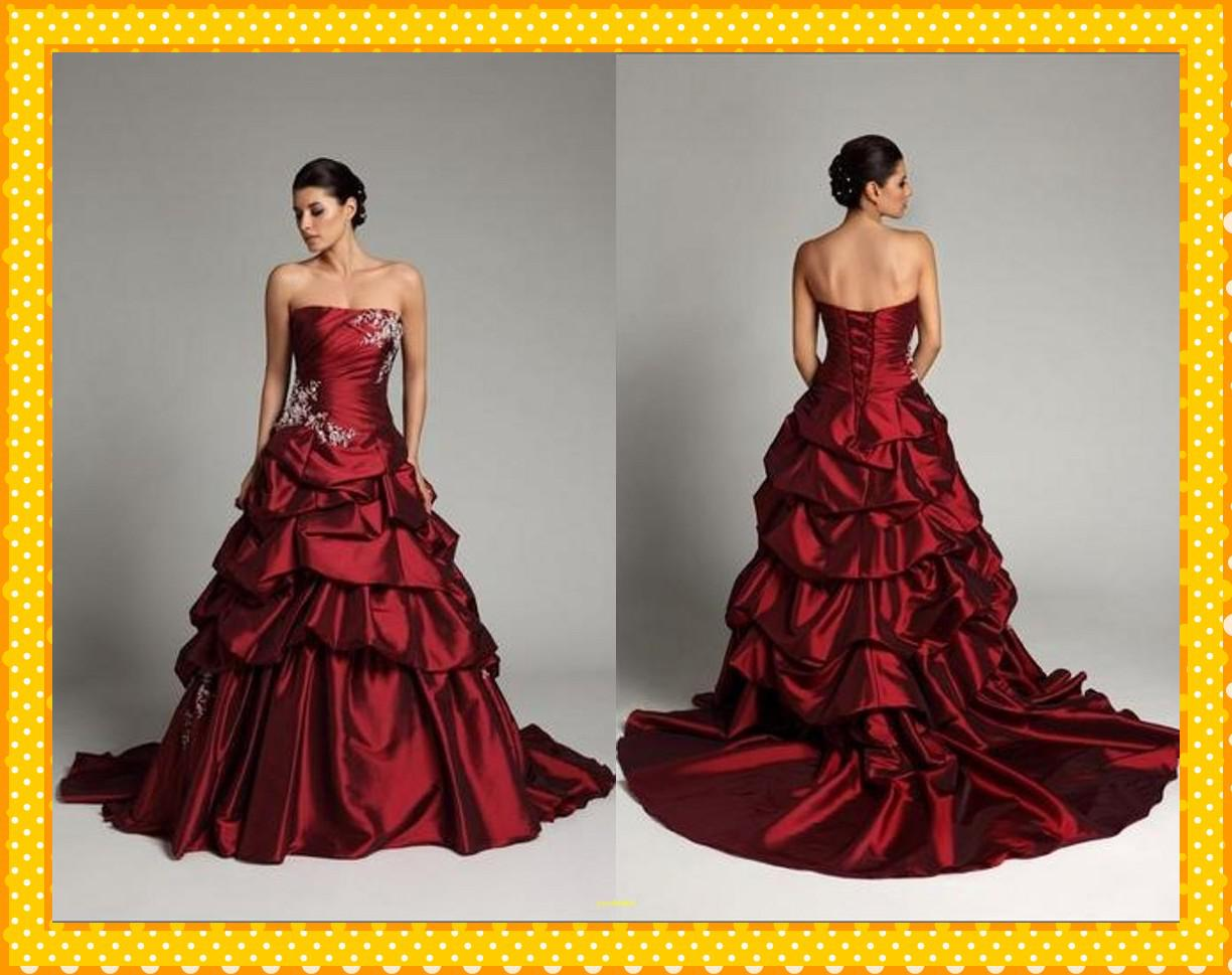 Custom Dark Red Ball Gowns Pleated Satin Sweetheart Applique Beads ...