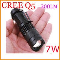 Wholesale 300LM CREE Q5 LED Camping Flashlight Torch Adjustable Focus Zoom waterproof flashlights Lamp