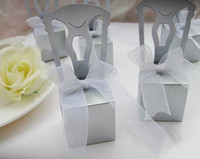White Paper 100 pcs Silver Chair Bomboniere Candy Box Boxes Wedding Favor Gift Hot Bridal Favors Gifts