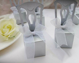 Wholesale 100 Silver Chair Bomboniere Candy Box Boxes Wedding Favor Gift Hot Bridal Favors Gifts