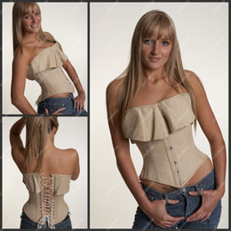 Wholesale C0R Grey Strapless Unique Design Corset With Lace Up