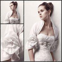Jacket accessories short jacket - Cheap Wedding Jackets with Handmade Flower Short Sleeves Organza Jackets Bridal Bolero Cheap High Quality Custom Made Brides Accessory