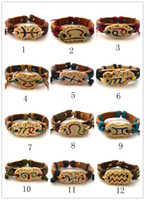 Wholesale leather bracelet leather anklet real cow leather The Signs of the Zodiac all handmade