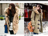 Wholesale Winters women overcoat True raccoon hair cotton padded clothes thicken large size cotton padded coat