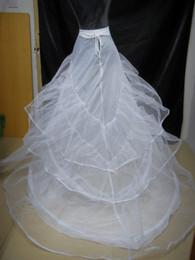 Wholesale Big Discount White Three Layers wedding Chapel Train petticoat PE001