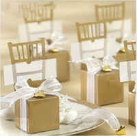 Wholesale 100pcs Gold Chair Candy Box Boxes Wedding Favor Gift Hot Bridal Gifts Favors