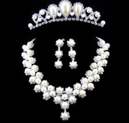 Wholesale 3 Sets Wedding Bridal Jewelry Sets WhiteArtificail Pearls Rhinestones Tiara Necklace Earring Studs