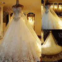 Wholesale Romantic dreaming a line sexy classic lace white beaded train floor length wedding dress bridal veil