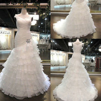 Wholesale Newest Style Off The Shoulder White Layers Mermaids Brush Train Corset And Tulle Wedding Dresses GT