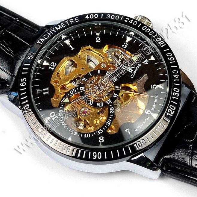 new mens fashion skeleton black amp gold dial leather band mens fashion skeleton black gold dial leather band automatic mechanical watch
