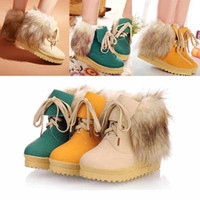 Wholesale New Style Woman Girl Children Boots Short Snow Boot Flattie Lace ups size Green yellow Begie