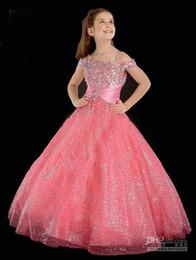 Wholesale Best Price Beaded Out Shoulder Pink Princess Flower Girl Dresses FLG001