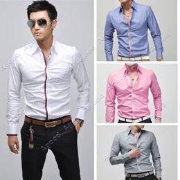 Wholesale Christmas Sale Men s Shirts Fashion Long Sleeve Shirt tops Casual Slim Fit Four Sizes Agood