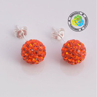 Wholesale Christmas multicolour mm clay pave CZ disco ball beads Sterling Silver stud earrings pair