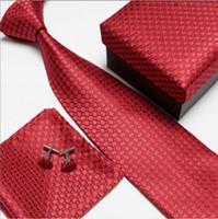 Wholesale wedding ties hot sell mens tie sets Tie cufflinks pocket towel gift box set F