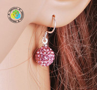 multicolour Bohemian Women's Free shipping christmas multicolour 10mm clay pave CZ disco ball 925 Sterling Silver drop earrings