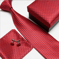 Wholesale wedding ties hot sell mens tie sets Tie cufflinks pocket towel gift box set F