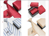 Wholesale Fast shipping Man necktie Silk Men ties Necktie Box tie men s ties handkerchief and cufflinks
