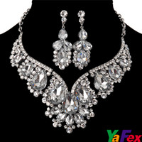 Wholesale Crystal Rhinestone Wedding Bridal Party Tear Drop Earring Necklace Jewelry Set WA119