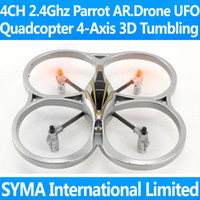 Wholesale 6PCS Ghz CH Parrot AR Drone Quadcopter Axis GYRO One Key D Tumbling Flip UFO VS WL V929 V939