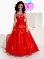 Красные ремни вышивки девушки Pageant платья из органзы +2017 шарика платья девушки цветка 13296 из бисера аппликация этаж Длина Дети формальной одежды