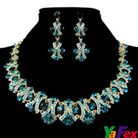 Wholesale 7 Colors Freeshipping Bridal Party Earring Necklace Jewelry Set Crystal Rhinestone WA130