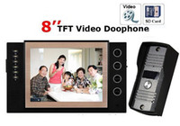 Wholesale 8 quot color video doorphone with SD card deck record function nightvision taking photos and video