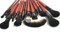 Wholesale Professional set Cosmetic make up Makeup brown Brush Set black PU Pouch Bag