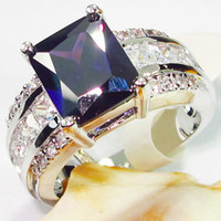 Wholesale Trendy Dark Amethyst gemstone silver ring R619 sz