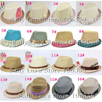 Wholesale 16 Designs Children Summer Fedora Hat Baby Straw Sun Cap Kids Top Hat Infant Strawhat Dicers Fedoras